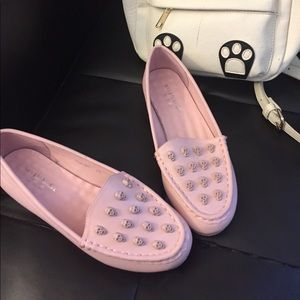 Shoes - Cute Pink Skull Loafers with Leopard Soles